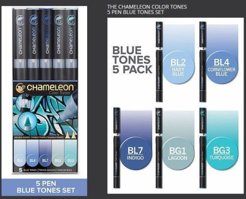 BLUE TONES ALCOHOL BASED INK 5 PEN SET Thumbnail